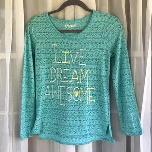 Mint green love sleeve tee Live Dream Awesome